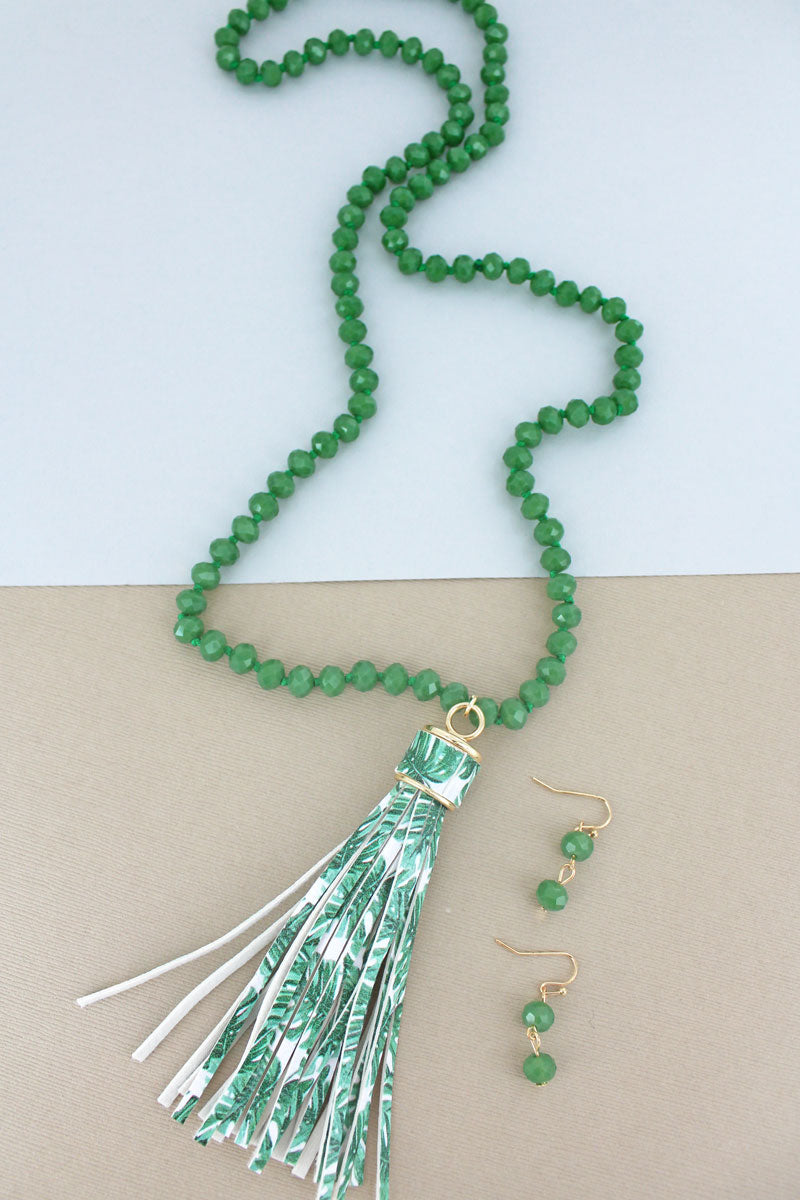 Green Beaded Botanical Tassel Necklace and Earring Set