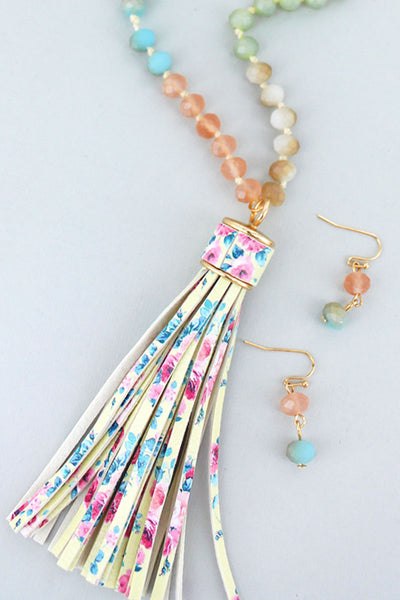 Multi-Color Beaded Floral Tassel Necklace and Earring Set