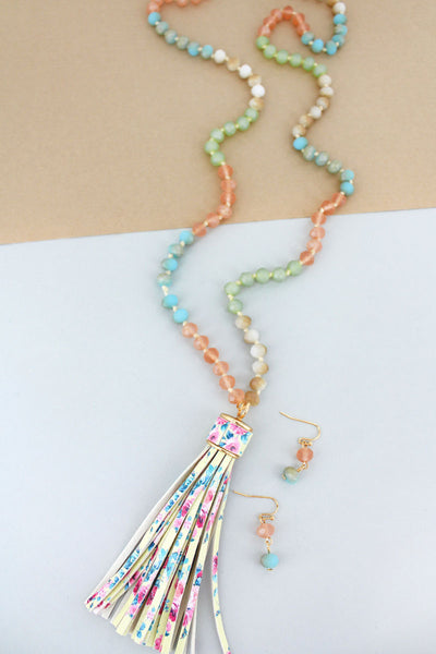 SALE! Multi-Color Beaded Floral Tassel Necklace and Earring Set