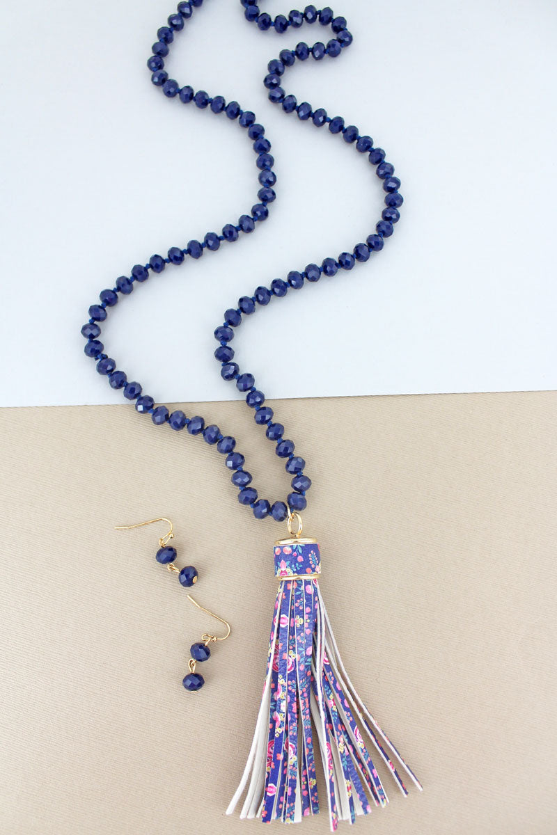 Navy Beaded Floral Tassel Necklace and Earring Set
