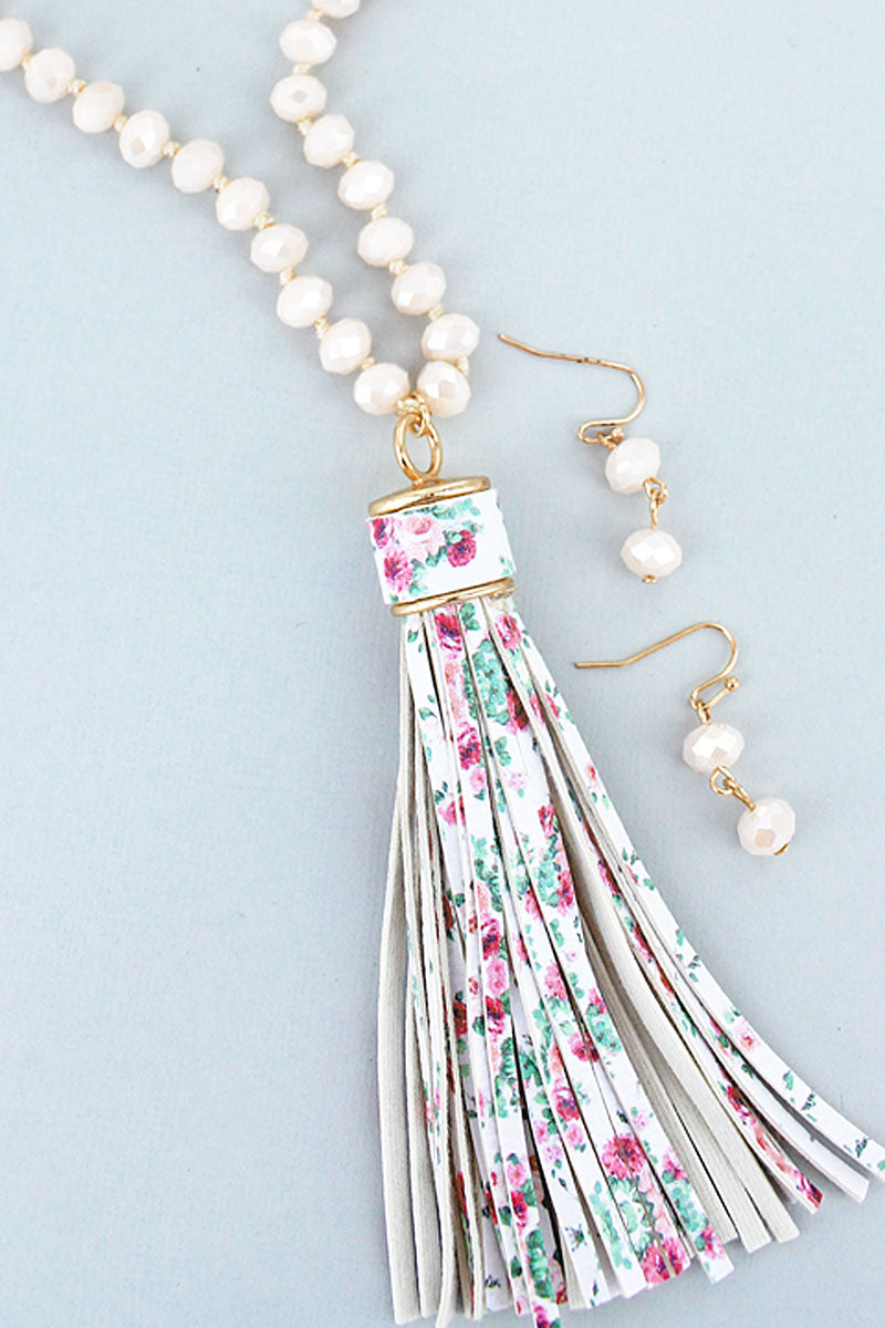 Pink Beaded Floral Tassel Necklace and Earring Set