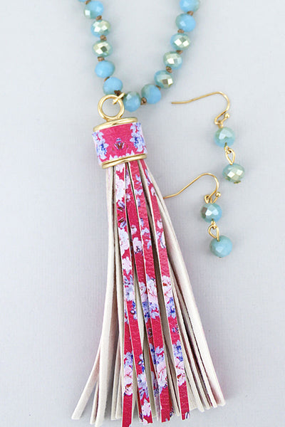 Turquoise Beaded Floral Tassel Necklace and Earring Set