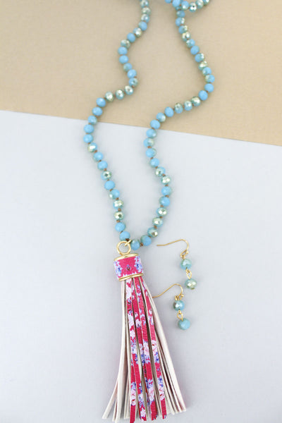SALE! Turquoise Beaded Floral Tassel Necklace and Earring Set