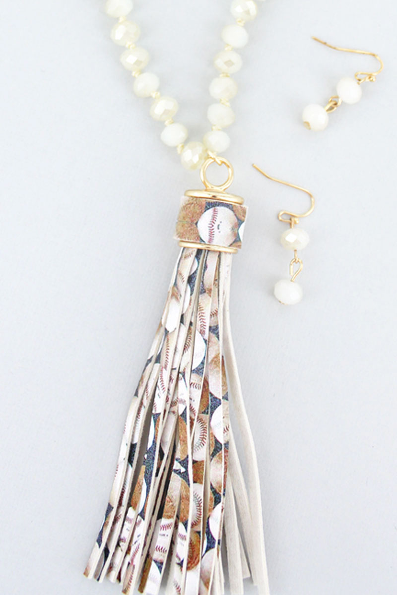 Baseball Tassel Ivory Beaded Necklace and Earring Set