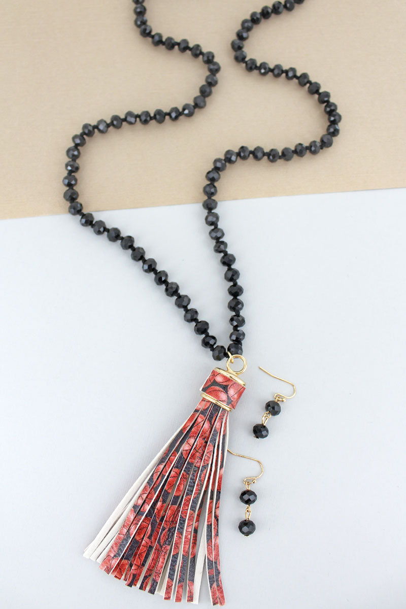 Basketball Tassel Black Beaded Necklace and Earring Set