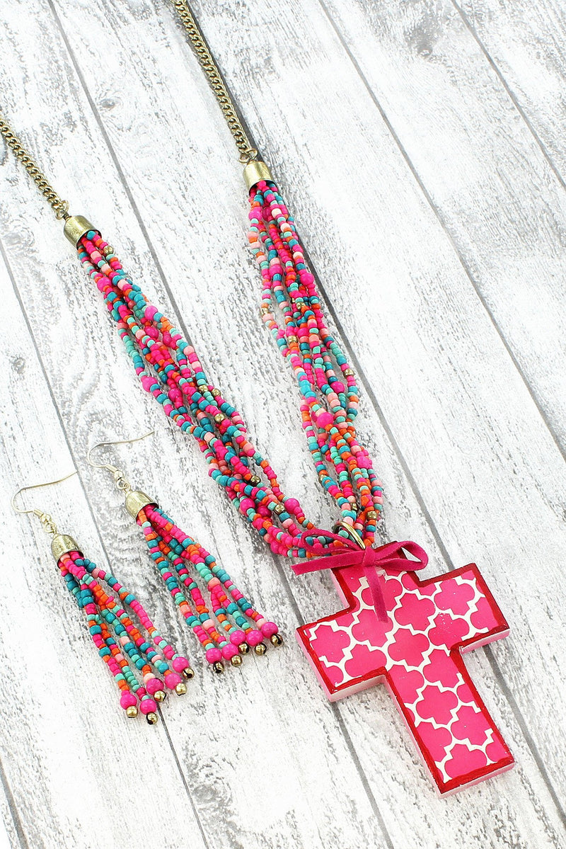 DISCONTINUED... Fuchsia Moroccan Cross Seed Bead Necklace and Earring Set
