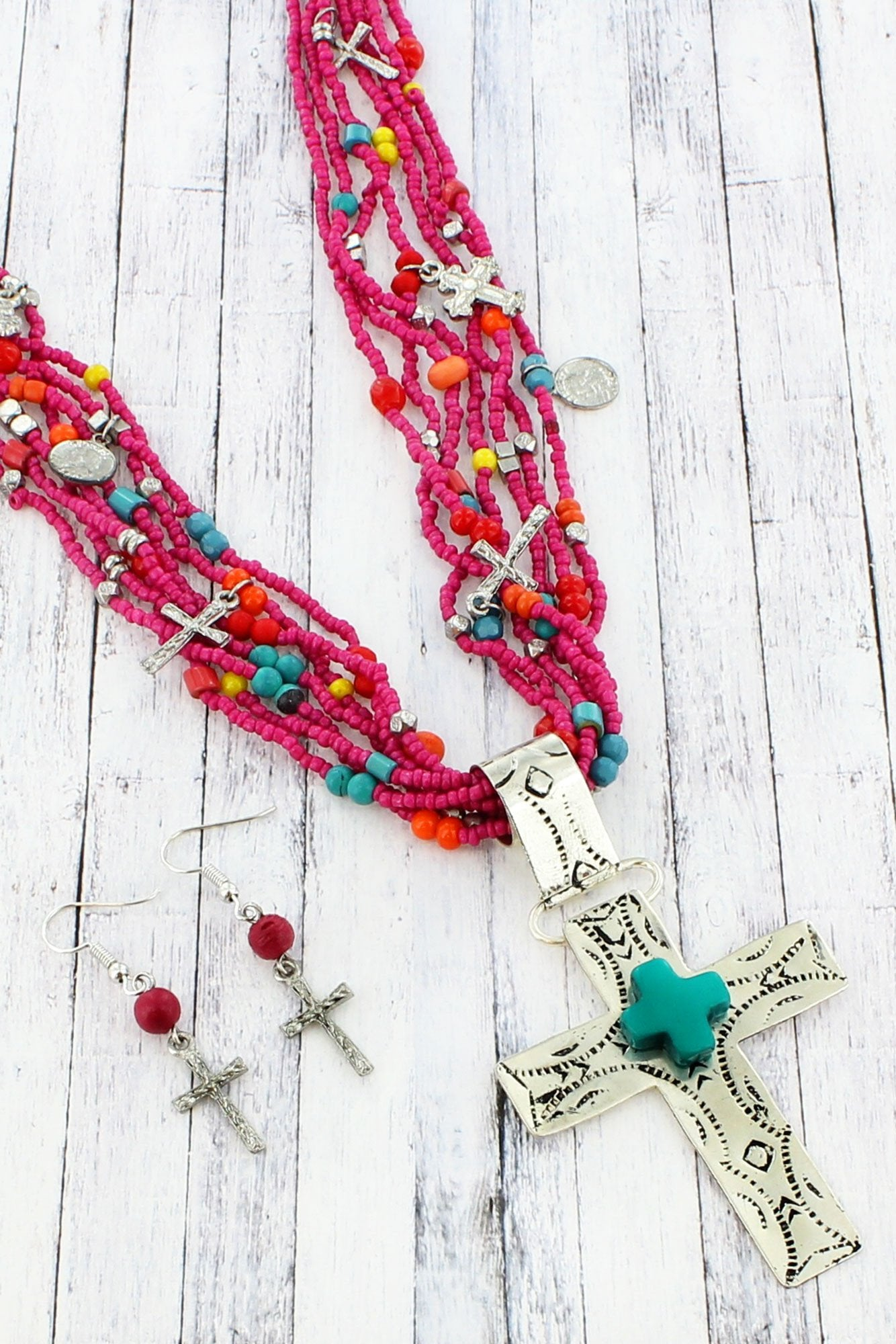 DISCONTINUED... Fuchsia, Turquoise, and Silvertone Cross Multi-Strand Beaded Necklace and Earring Set
