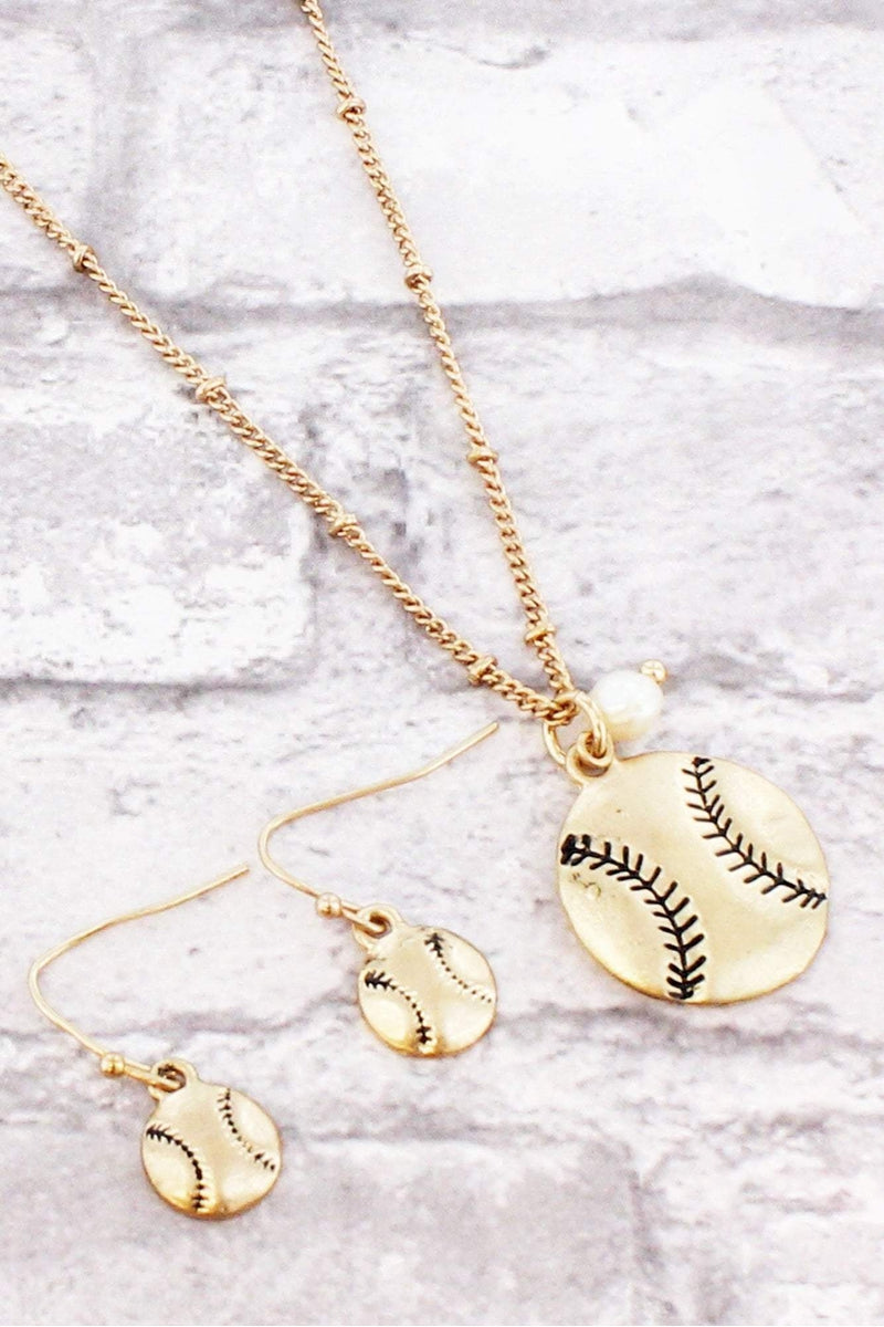 Worn Goldtone Baseball Necklace and Earring Set