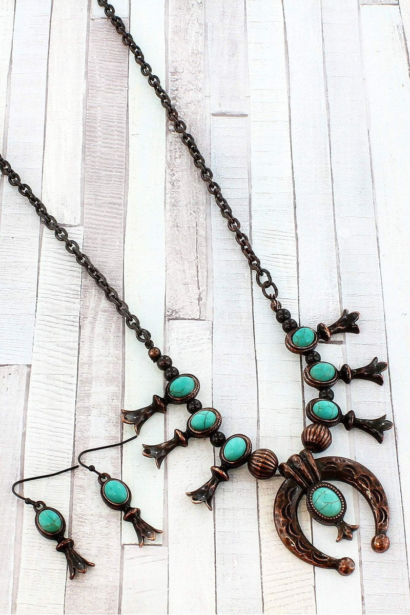Burnished Coppertone and Turquoise Stone Squash Blossom Necklace and Earring Set #SS0077-COTQ