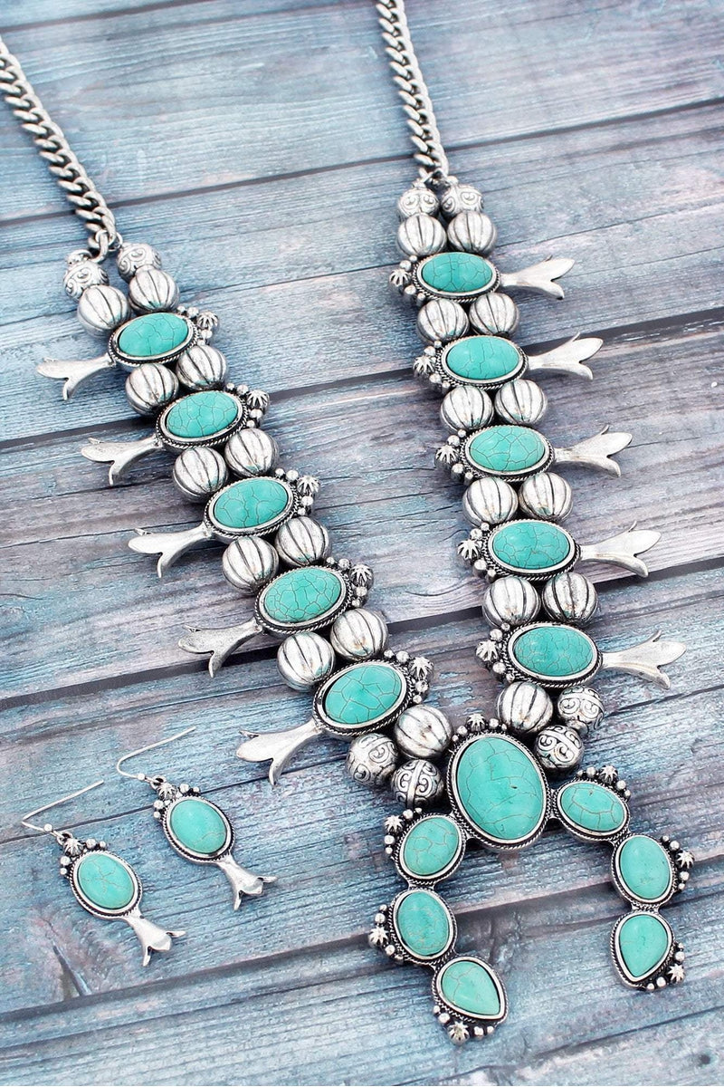 Turquoise Stone and Burnished Silvertone Squash Blossom Necklace and Earring Set #SS0095-SBTQ