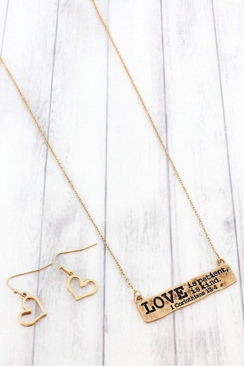 Worn Goldtone 1 Corinthians 13:4 Bar Pendant Necklace and Earring Set #SS0134-WG