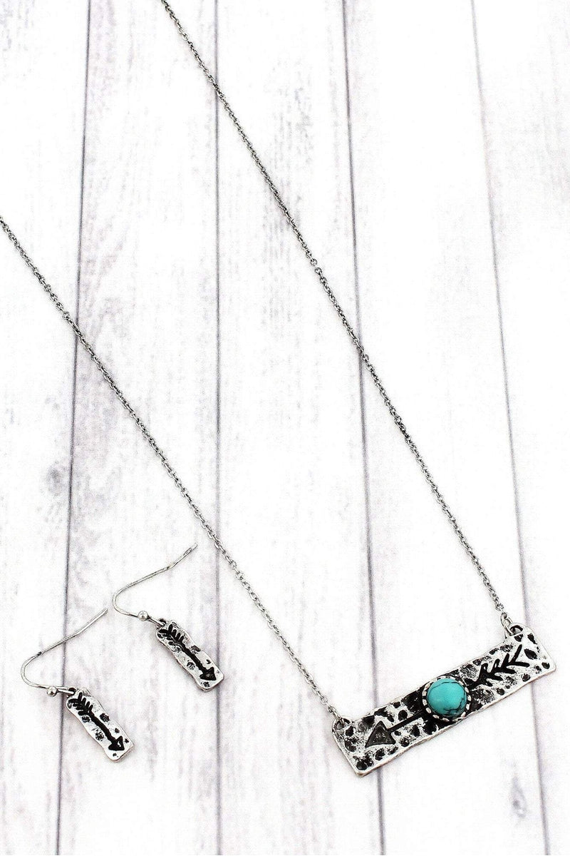 Burnished Silvertone with Turquoise Bead Arrow Bar Necklace and Earring Set #SS0160-SBTQ