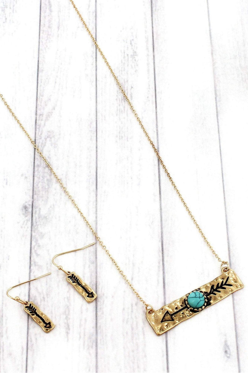 Worn Goldtone with Turquoise Bead Arrow Bar Necklace and Earring Set #SS0160-WGTQ