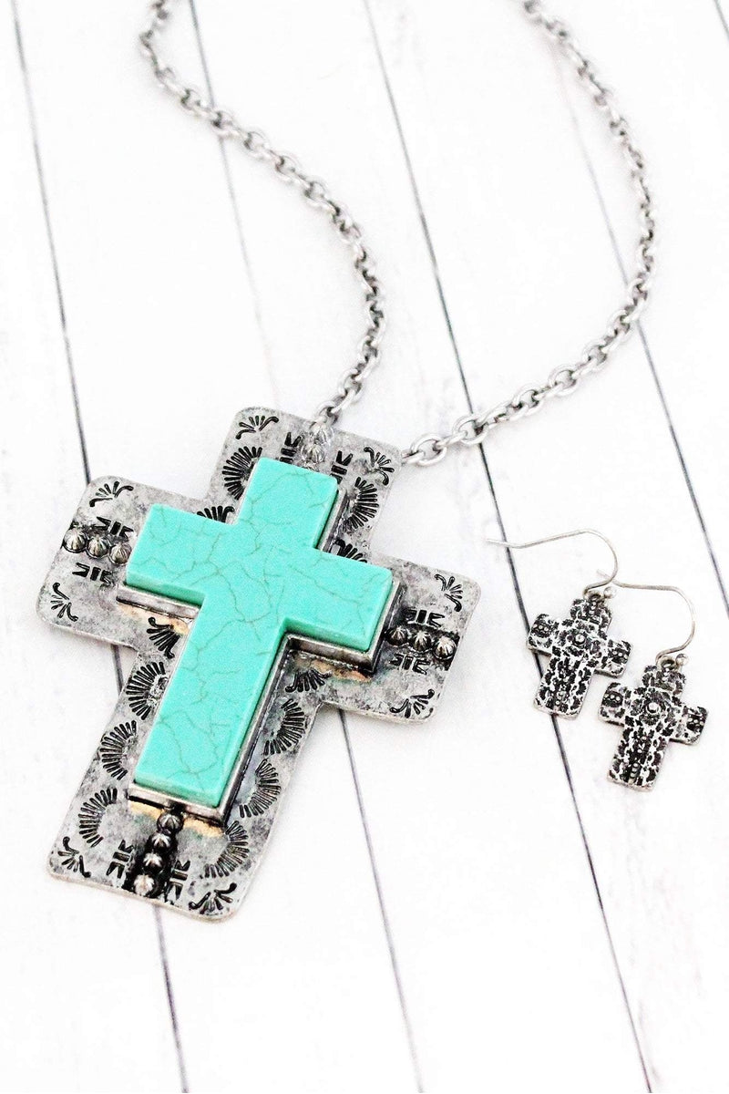 Burnished Silvertone and Turquoise Layered Western Cross Necklace and Earring Set
