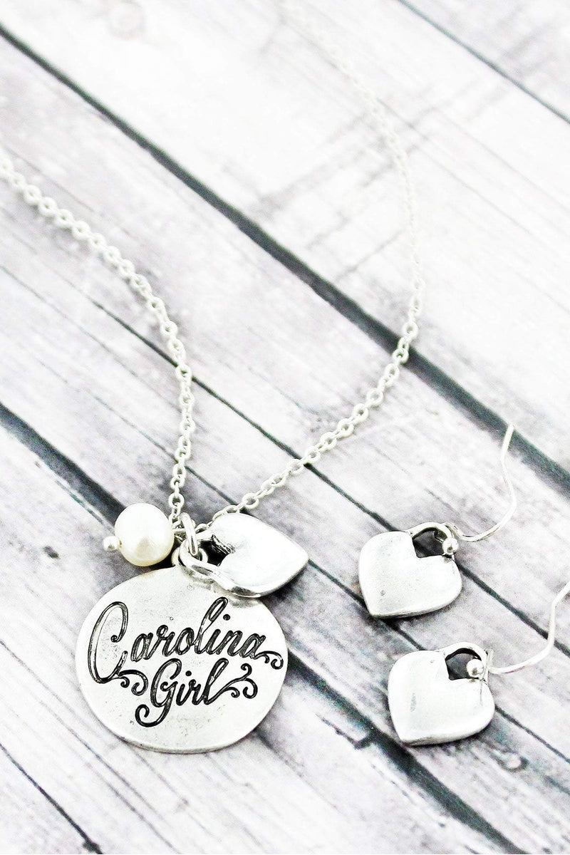 Burnished Silvertone 'Carolina Girl' Necklace and Earring Set