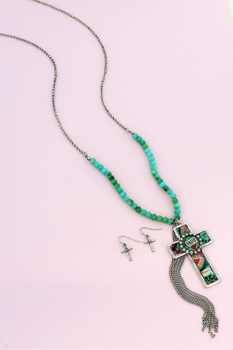 Burnished Silvertone Floral 'Faith' Cross & Tassel Beaded Necklace and Earring Set