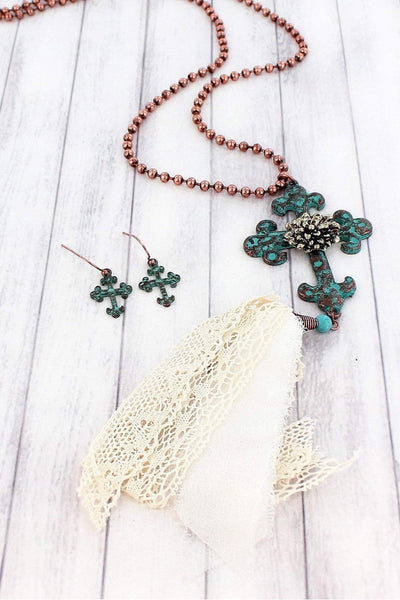Coppertone and Patina Cross Fabric Tassel Necklace and Earring Set