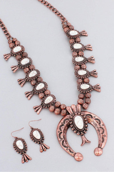Burnished Coppertone and White Squash Blossom Necklace and Earring Set