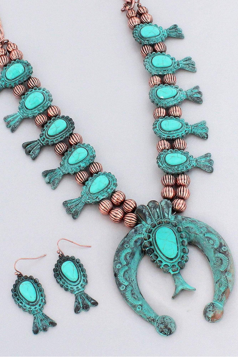 Wholesale western jewelry squash blossom two tone and turquoise squash blossom necklace and earring set aloadofball Choice Image