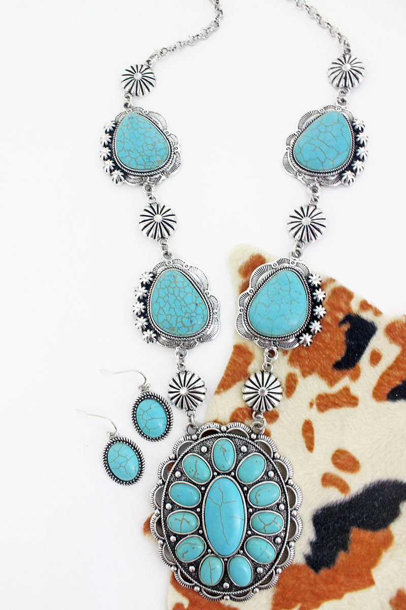 Burnished Silvertone and Turquoise Stone Concho Necklace and Earring Set