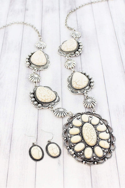 Burnished Silvertone and Ivory Stone Concho Necklace and Earring Set