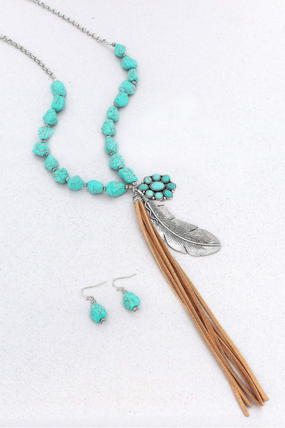 Burnished Silvertone Feather Tassel Turquoise Nugget Necklace and Earring Set