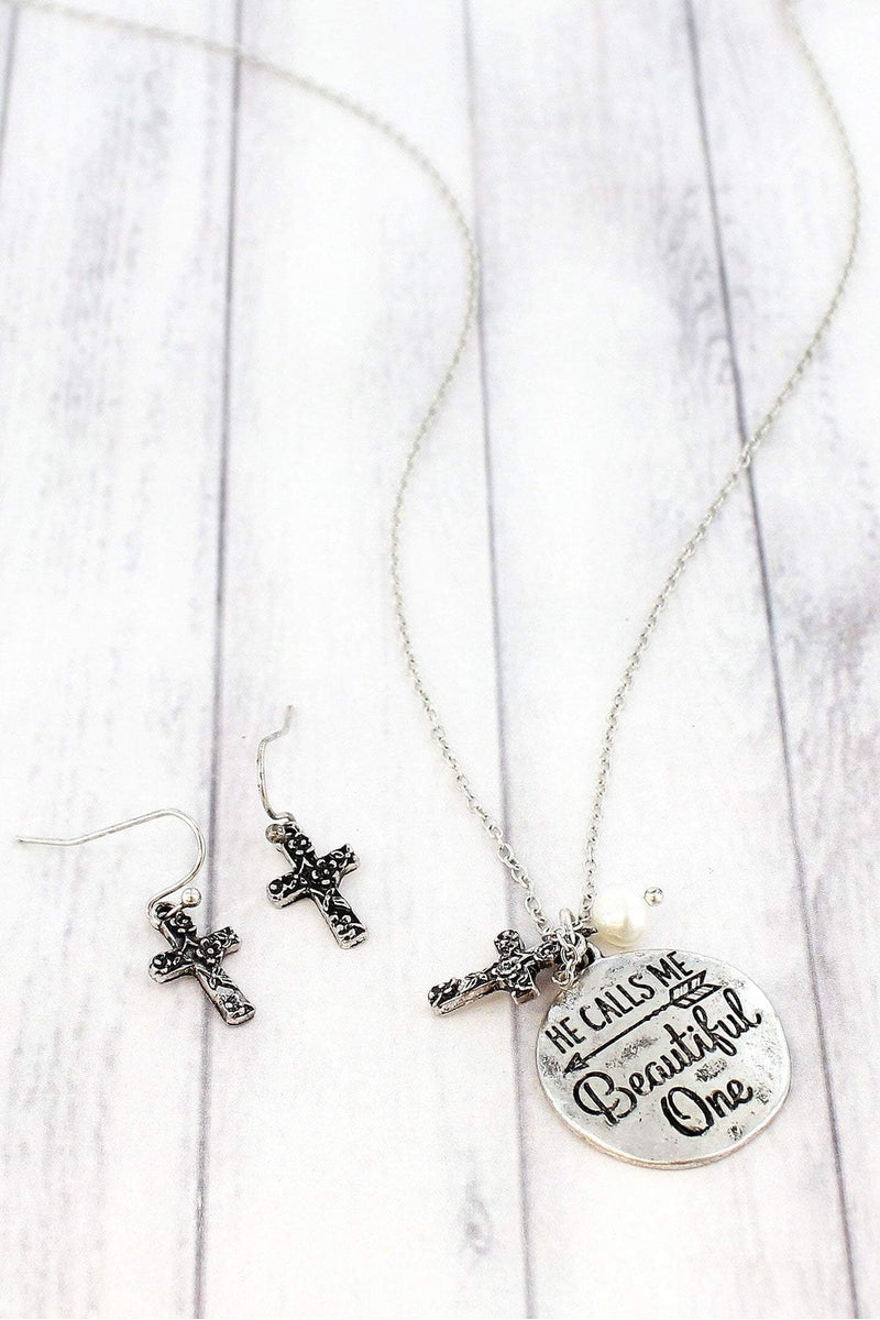 Burnished Silvertone 'He Calls Me Beautiful One' Necklace and Earring Set