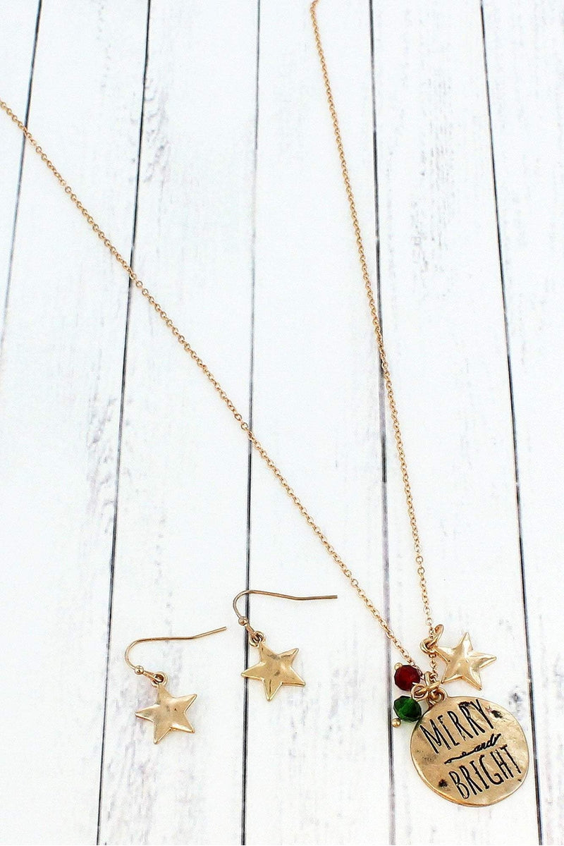 Worn Goldtone 'Merry and Bright' Necklace and Earring Set