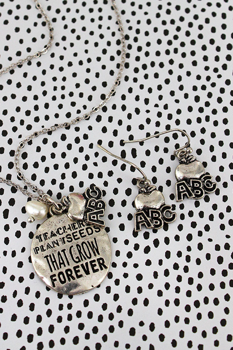 Burnished Silvertone 'Teachers Plant Seeds' Necklace and Earring Set