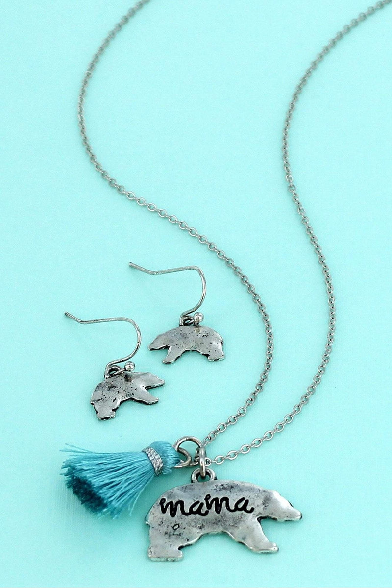 Burnished Silvertone 'Mama' Bear and Blue Tassel Necklace and Earring Set