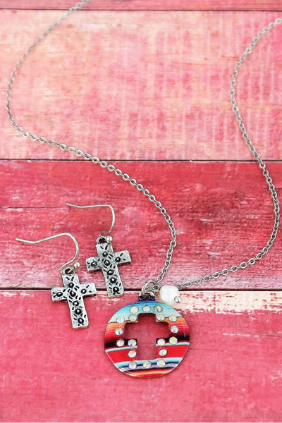 Crystal Serape Cut-Out Cross Silvertone Necklace and Earring Set