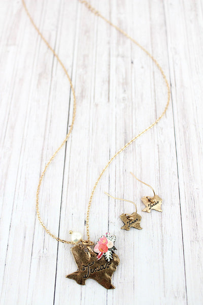 Flower Bouquet Worn Goldtone Texas Necklace and Earring Set