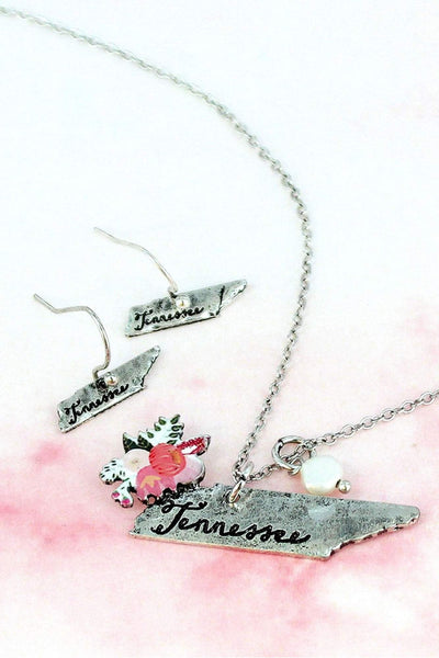 Flower Bouquet Burnished Silvertone Tennessee Necklace and Earring Set