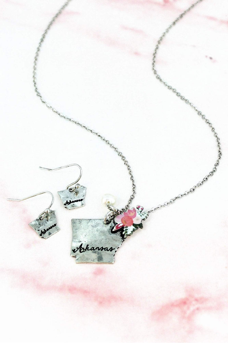 Flower Bouquet Burnished Silvertone Arkansas Necklace and Earring Set