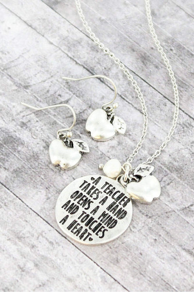 Burnished Silvertone 'Touches a Heart' Teacher Necklace and Earring Set