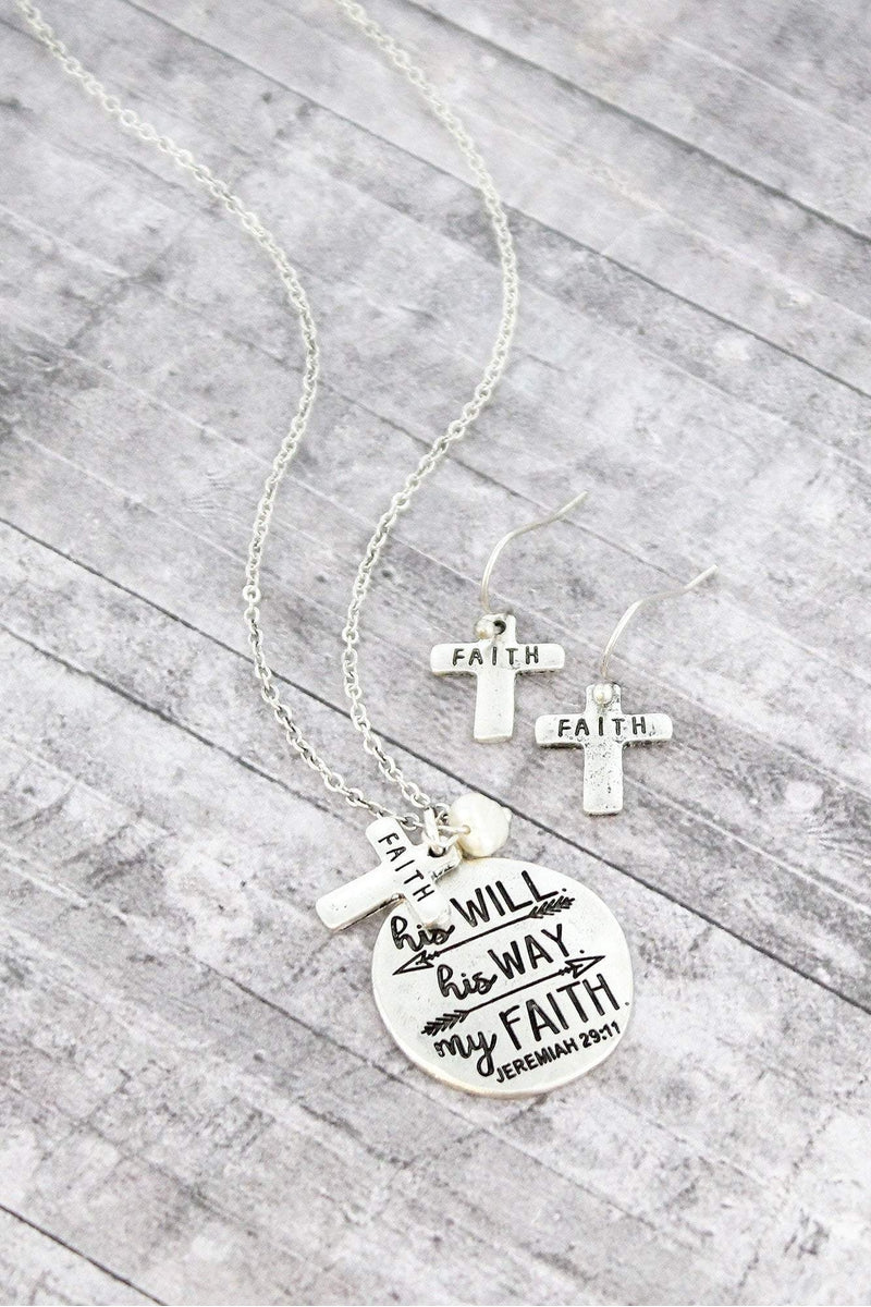 Burnished Silvertone 'Will Way Faith' Necklace and Earring Set