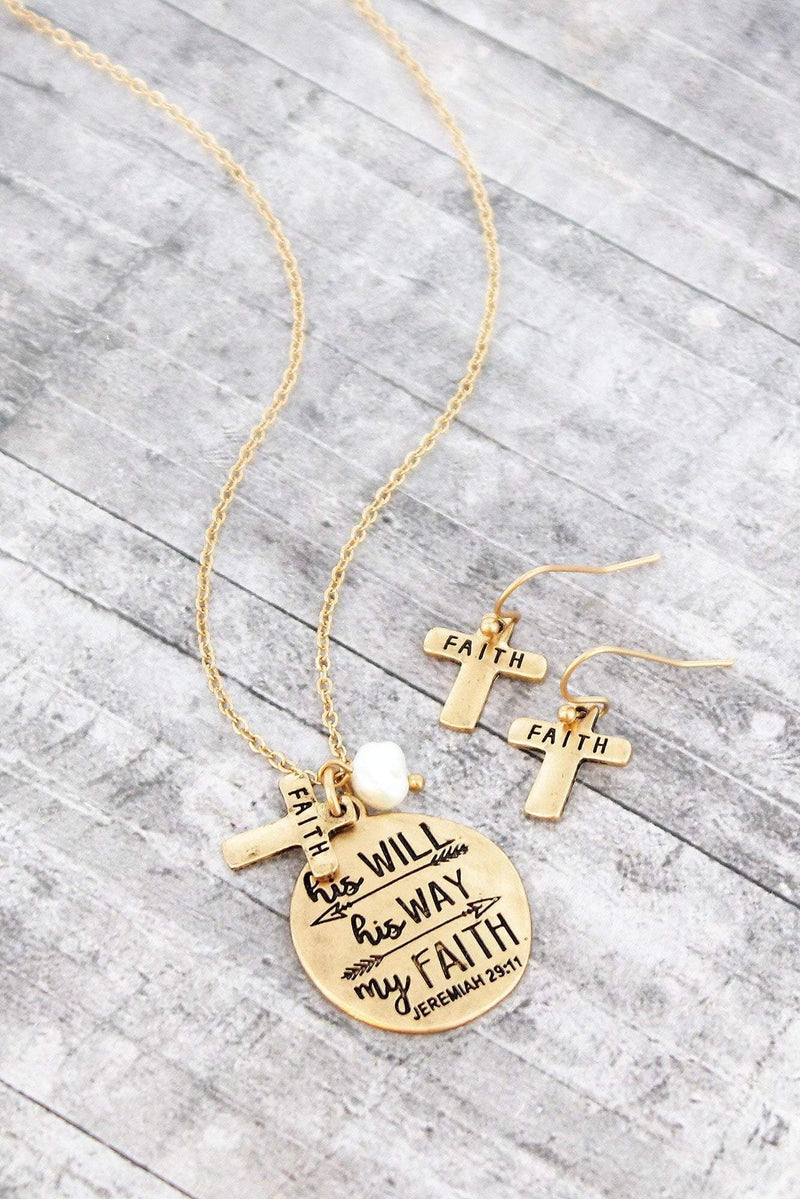 Worn Goldtone 'Will Way Faith' Necklace and Earring Set