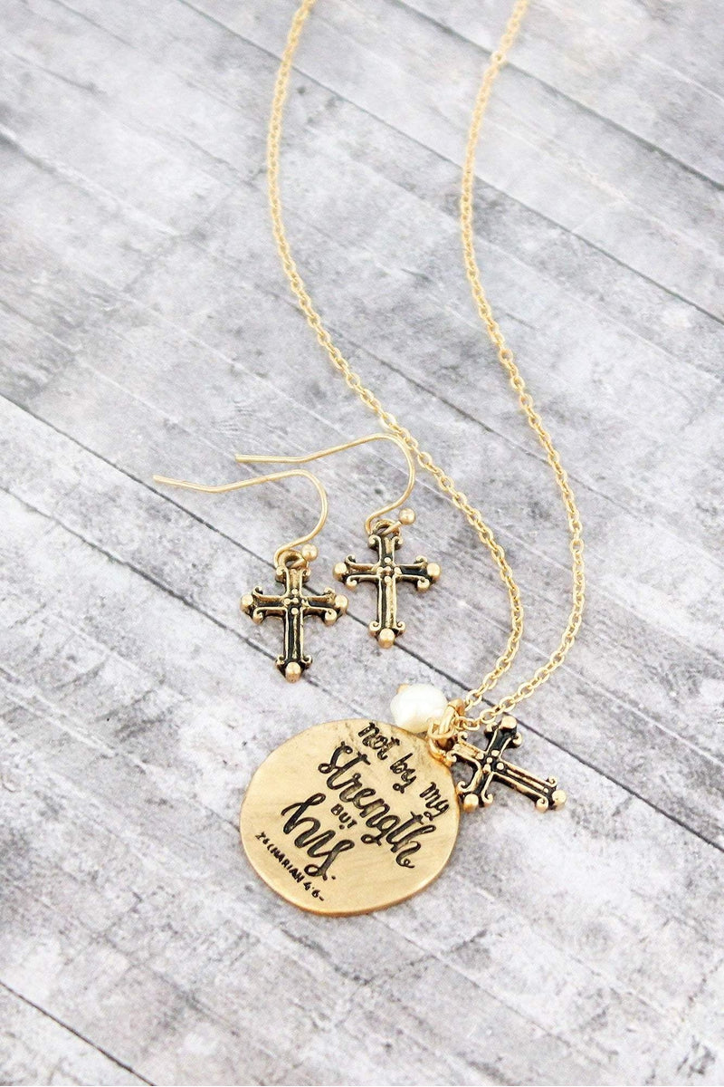 Worn Goldtone Not By My Strength Necklace And Earring Set