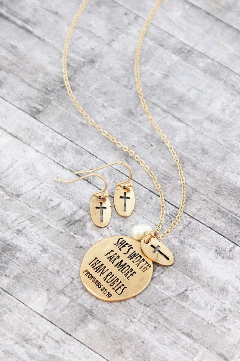 Worn Goldtone 'She's Worth Far More' Necklace and Earring Set