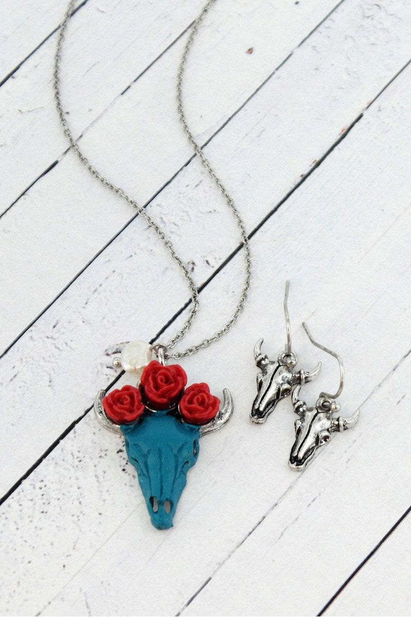 Turquoise with Red Roses Steer Skull Silvertone Necklace and Earring Set