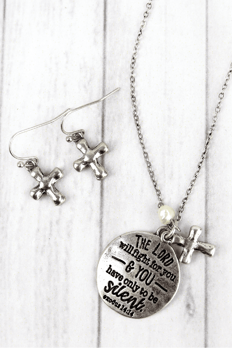 Burnished Silvertone 'The Lord Will Fight For You' Necklace and Earring Set