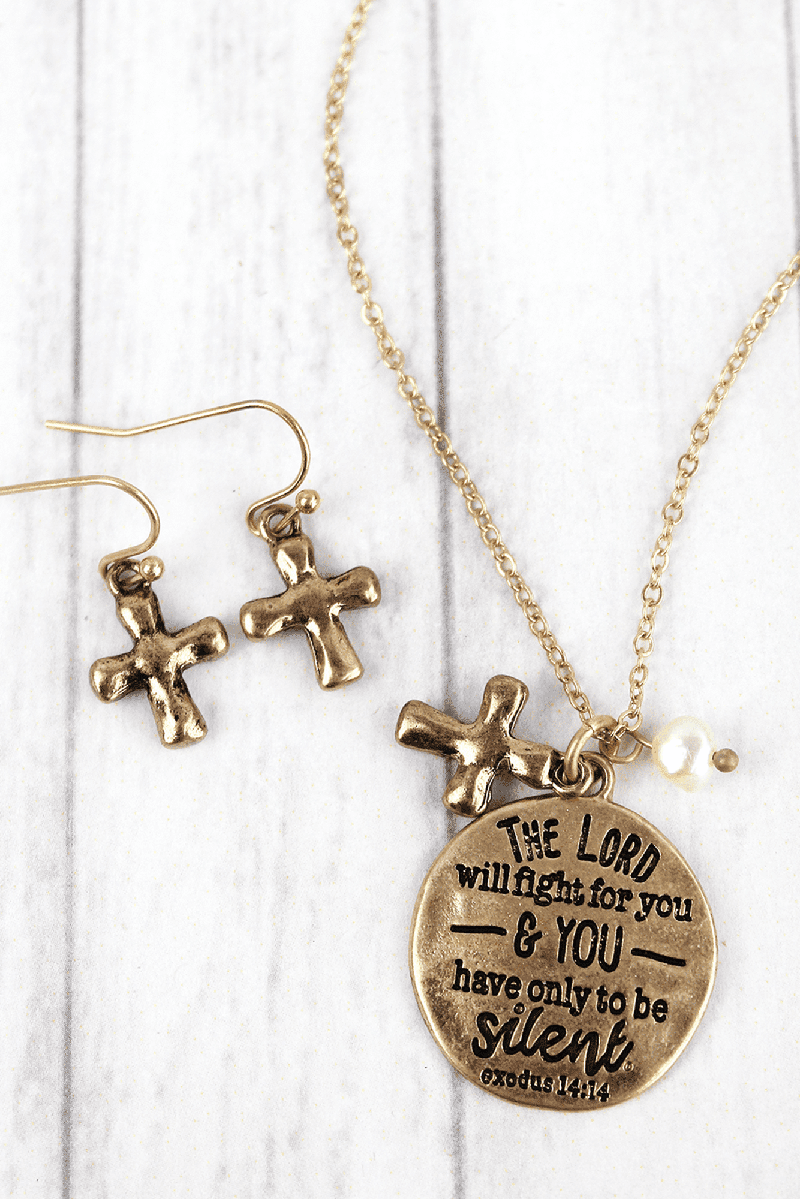 Worn Goldtone 'The Lord Will Fight For You' Necklace and Earring Set
