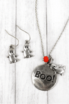 Burnished Silvertone 'Boo!' Halloween Necklace and Earring Set