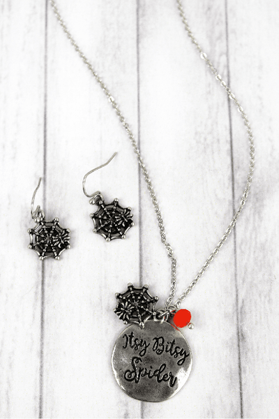 Burnished Silvertone 'Itsy Bitsy Spider' Halloween Necklace and Earring Set