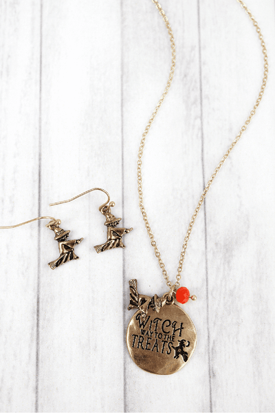 Worn Goldtone 'Witch Way' Halloween Necklace and Earring Set
