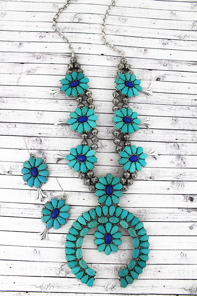 Silvertone and Turquoise & Blue Stone Squash Blossom Necklace and Earring Set