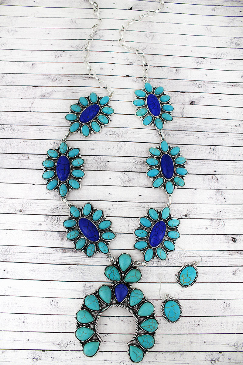 Turquoise & Blue Stone and Burnished Silvertone Squash Blossom Necklace and Earring Set