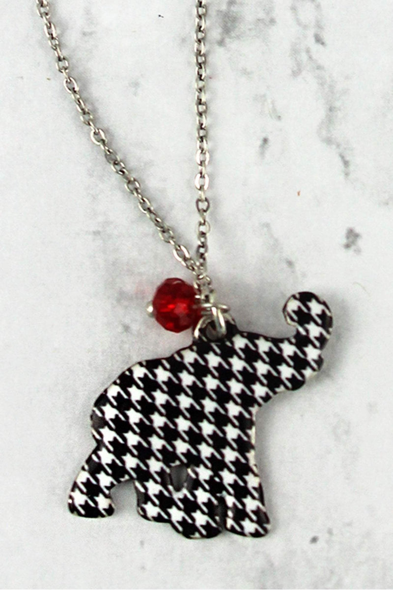 Houndstooth Elephant Silvertone Necklace and Earring Set
