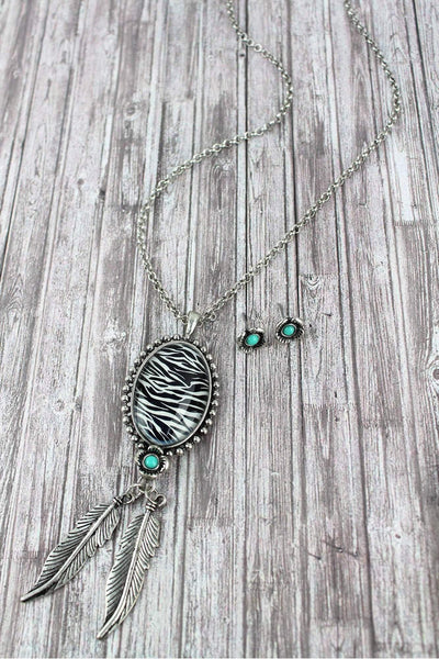 Burnished Silvertone and Zebra Pendant Necklace and Earring Set