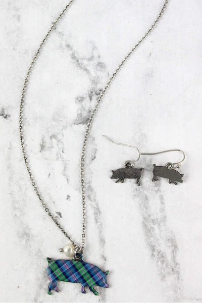 Perfectly Plaid Pig Silvertone Necklace and Earring Set